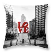 Philadelphia - Love Statue - Slective Coloring Throw Pillow