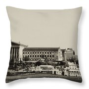 Philadelphia Museum Of Art And The Fairmount Waterworks From West River Drive In Black And White Throw Pillow