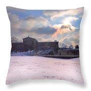 Philadelphia Museum Of Art At Winter Sunrise Throw Pillow