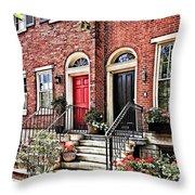 Philadelphia Pa - Townhouse With Red Geraniums Throw Pillow