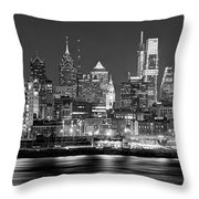 Philadelphia Philly Skyline At Night From East Black And White Bw Throw Pillow