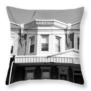 Philadelphia Row Houses - Black And White Throw Pillow