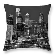 Philadelphia Skyline At Night Black And White Bw  Throw Pillow
