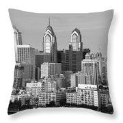 Philadelphia Skyline Black And White Bw Wide Pano Throw Pillow