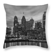 Philadelphia Skyline Bw Throw Pillow