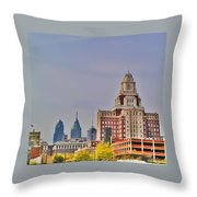 Philadelphia Skyline From Camden Waterfront Throw Pillow