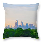 Philadelphia Skyline From West Lawn Of Fairmount Park Throw Pillow by Bill Cannon