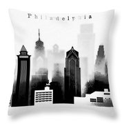 Philadelphia Skyline Graphic Work Throw Pillow