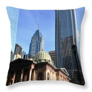 Philadelphia Street Level - Skyscrapers And Classical Building View Throw Pillow