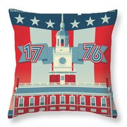 Philadelphia Poster - Independence Hall Throw Pillow