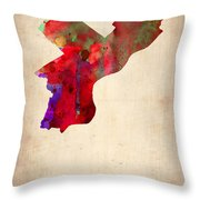 Philadelphia Watercolor Map Throw Pillow