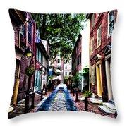 Philadelphia's Elfreth's Alley Throw Pillow