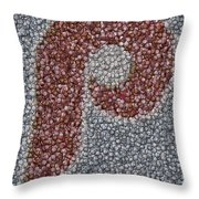 Philidelphia Phillies Baseballs Mosaic Throw Pillow by Paul Van Scott