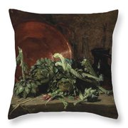 Philippe Rousseau Still Life With Artichokes, 1868 Throw Pillow