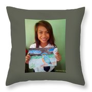 Philippine Kingfisher Painting Contest 7 Throw Pillow
