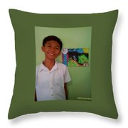 Philippine Kingfisher Painting Contest3 Throw Pillow