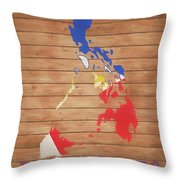 Philippines Rustic Map On Wood Throw Pillow