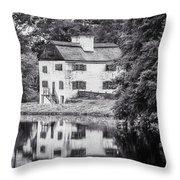 Philipsburg Manor House - Reflections - Bw Throw Pillow