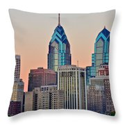 Philly At Sunset Throw Pillow