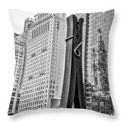 Philly Clothepin And City Hall Reflection In Black And White Throw Pillow