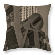Philly Esque  - Love Statue In Sepia Throw Pillow