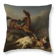 Philogene Tschaggeny   An Episode On The Field Of Battle Throw Pillow