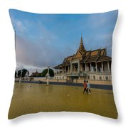 Phnom Penh Royal Palace Plaza Throw Pillow