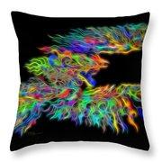 Phoenix Rising Electric Fractal Throw Pillow