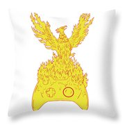 Phoenix Rising Fiery Flames Over Game Controller Drawing Throw Pillow