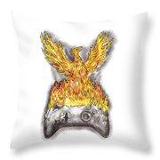 Phoenix Rising Over Burning Game Controller Tattoo Throw Pillow