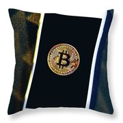 Phone With A Bitcoin Laying On Top Of It. Throw Pillow
