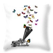 Phonograph And Butterflies Print Throw Pillow