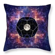 Photo Of The Moon And Sacred Geometry Throw Pillow