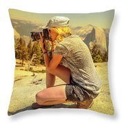 Photographer On Sentinel Dome Throw Pillow