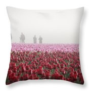 Photographers In The Mist Throw Pillow