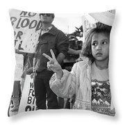 Photography Homage Alfred Eisenstadt Hispanic Girl V For Victory Sign Anti Gulf War Rally Tucson Az Throw Pillow