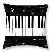 Piano And Music Background Throw Pillow