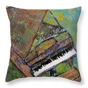 Piano Aqua Wall Throw Pillow