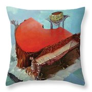 Piano In Red Throw Pillow