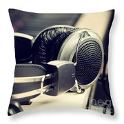 Piano Keyboard And Headphones Throw Pillow
