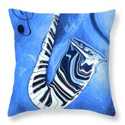 Piano Keys In A Saxophone Blue - Music In Motion Throw Pillow