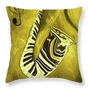 Piano Keys In A  Saxophone Golden - Music In Motion Throw Pillow