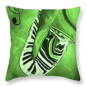 Piano Keys In A  Saxophone Green Music In Motion Throw Pillow