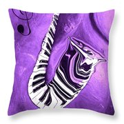 Piano Keys In A Saxophone Purple - Music In Motion Throw Pillow