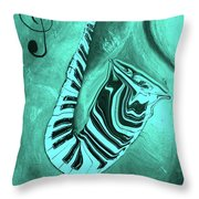 Piano Keys In A  Saxophone Teal Music In Motion Throw Pillow