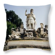 Piazza Del Popolo Fountain Throw Pillow