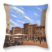 Piazza Della Cisterna San Gimignano Tuscany Throw Pillow
