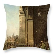 Piazza Di San Marco And The Colonnade Of The Procuratie Nuove Throw Pillow