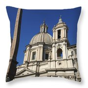 Piazza Navona. Navona Place. Church St. Angnese In Agona And Egyptian Obelisk. Rome Throw Pillow