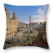 Piazza Novona - Rome Throw Pillow